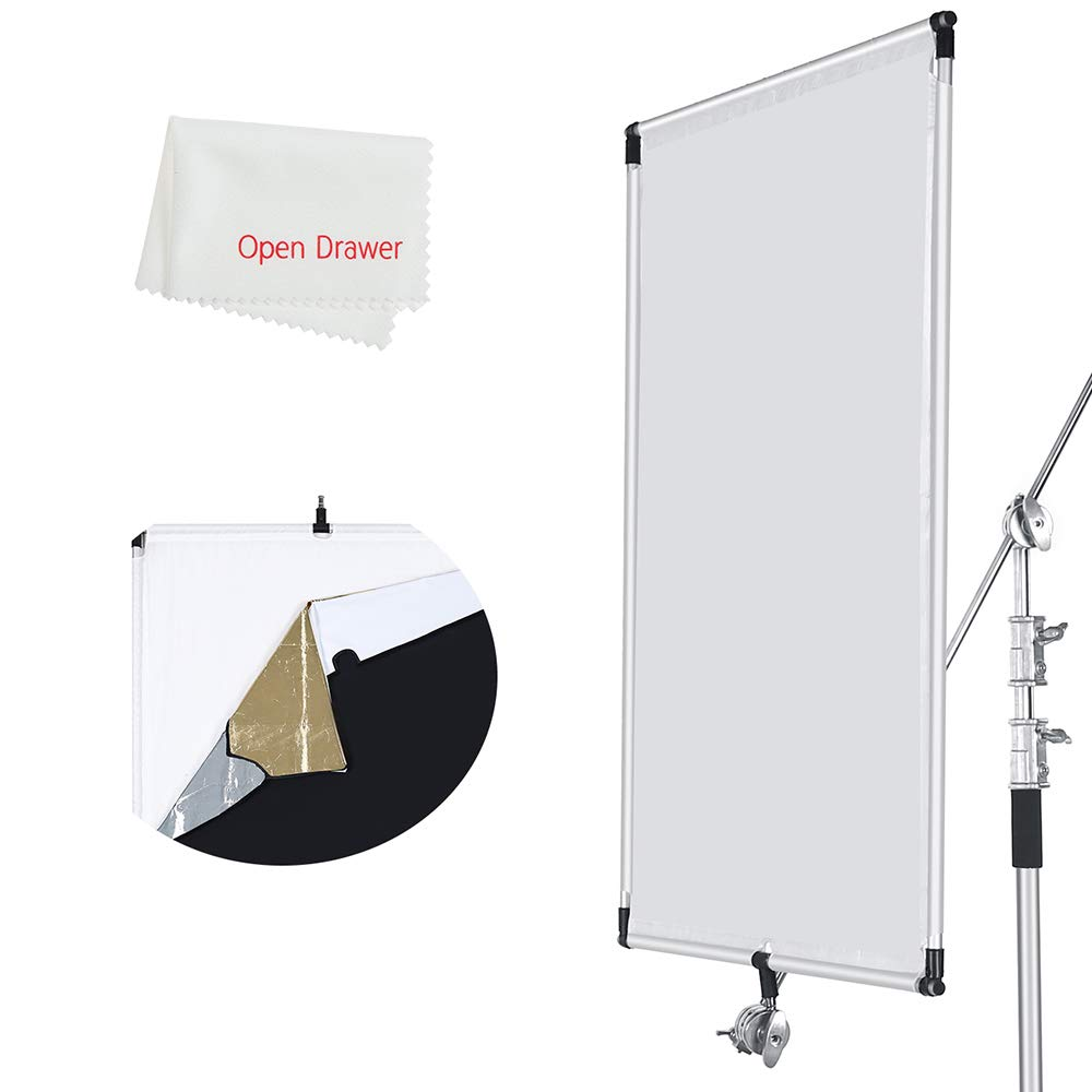 OPEN DRAWER Sun Scrim 2.95 x 3.9 feet / 35 x 47 inch 5in1 Panel Sun Scrim Translucent Soft Cloth and Gold/Silver/Black/White Diffuser Reflector Aluminum Alloy Frame Compatible Video Photography