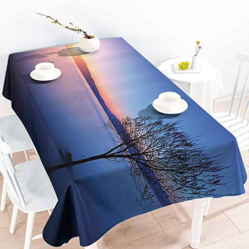 Homrkey Rectangular Tablecloth Room Decorations Collection Silhouette of Tree in Ohrid Lake Macedonia at Sunset Vibrant Colors Seasonal Panorama Cobalt Easy to Clean W40 xL60
