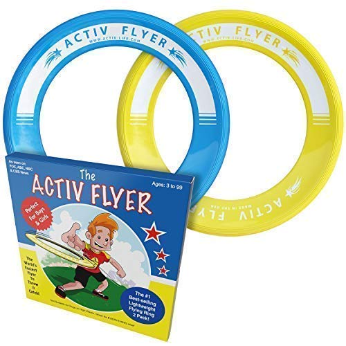 Activ Life Best Kids Flying Rings [Yellow/Cyan] - Top Birthday Presents & Gifts for Young Boys Girls Ages 3 and Up - Ultimate Outdoor Toss Toys at Beach Vacation, School Playground, Park, Pool Fun ()