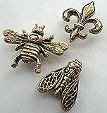 15 large Antique Gold Decorative BEES & FLEUR de LIS Push Pins T-135AG