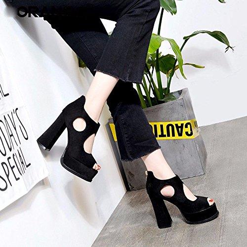 Verano Con 12Cm Altos De GTVERNH Todos Son Coinciden Sandalias Tacones Boca Espesor black Zapatillas Mujer Women'Shoes Impermeable Peces De Zapatos Delgado Hembra 44UqwP8