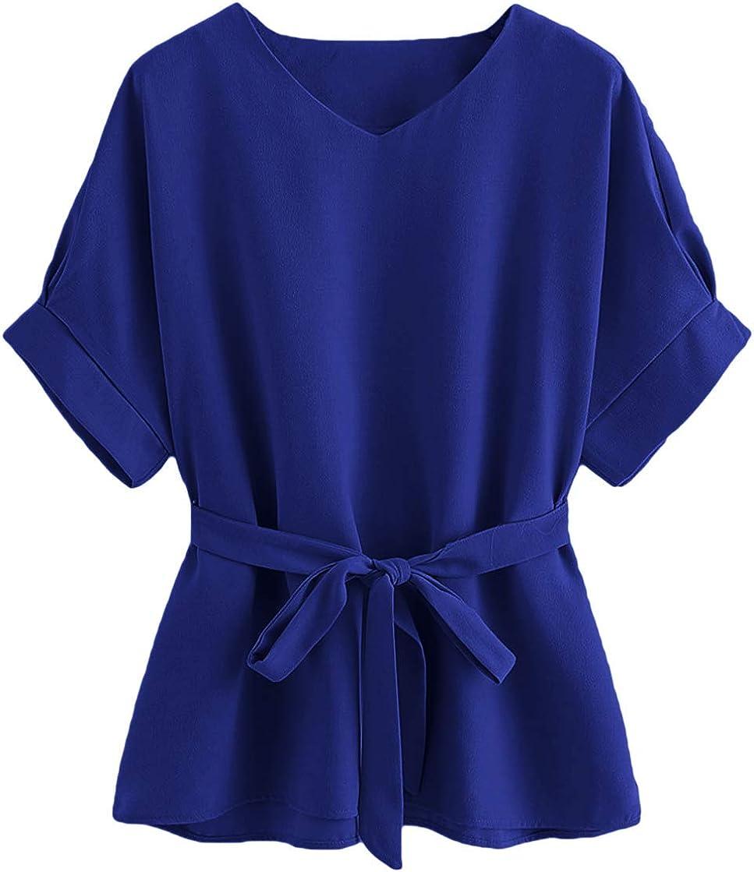 Milumia Women's Casual V Neckline Short Sleeve Self Tie Dressy Work Blouse Tunic Tops