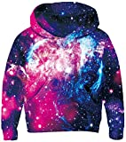 UNICOMIDEA Galaxy Sweater Kids's Funny Hoodies Cute 3D Digital Pullover Pattern Long Sleeve Galaxy Pullover with Plush Lining for 6-8 Years,Purple