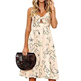 ℱLOVESOOℱ Women's V Neck Cami Backless Front Bow Tie Pleated A-Line Dresses Summer Casual Button Knee-Length Beach Dress