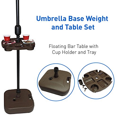 EasyGoProducts Umbrella Base Weight and Table Set, Plastic Universal Weighted Stand Water or Sand Weighted Stand, Floating Bar Table with Cup Holder and Tray, 21 Ltr Capacity, Brown Bench Conversion