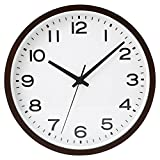 MUJI Wall mounted Analog Clock Large Beechwood Dark brown Continuous second hand watch