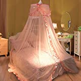 SS-Korean style dome ceiling of nets flower lace pastoral Princess room landing nets nets , pink , 200*230cm