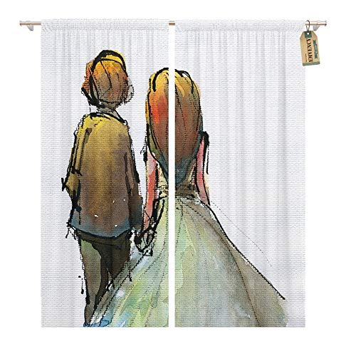 - Emvency Window Curtains 2 Panels Rod Pocket Drapes Satin Polyester Blend Watercolor Couple in Wedding Suite Dress Traditional Scanned Living Bedroom Drapes Set 104 x 96 Inches