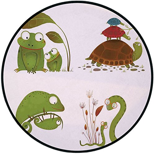 Turtle Green Rug - Printing Round Rug,Reptiles,Reptile Family with Colorful Baby Collection Snake Frog Ninja Turtles Love Mother Mat Non-Slip Soft Entrance Mat Door Floor Rug Area Rug For Chair Living Room,Green Brown R