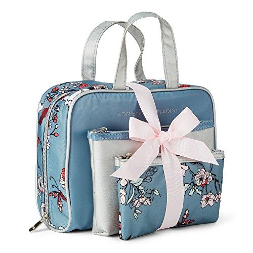 et of 3 Satchel Cosmetic Case (Pale Blue Floral) (Adrienne Vittadini Satchel)