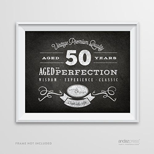 Andaz Press Milestone Birthday Wall Art Poster Signs, 50th Birthday Gifts, Decorations and Party Decor, Vintage 50 Years Chalkboard Print, 1-Pack