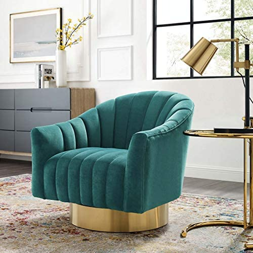 Modway Buoyant Channel Tufted Performance Velvet Accent Lounge Living Room Swivel Chair
