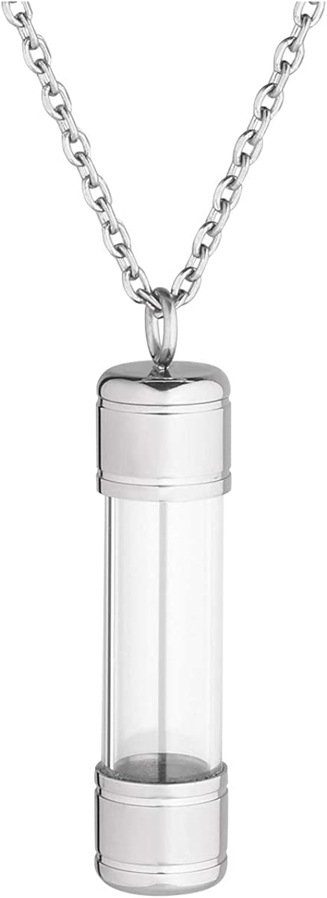 Jovivi Personalized Custom Name Stainless Steel Openable Container Tube Urn Necklace Keepsake Cremation Ashes Memorial Jewelry for Men Women