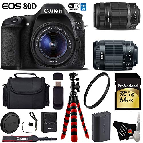 Canon EOS 80D DSLR Camera with 18-55mm is STM Lens & 55-250mm is II Lens + Flexible Tripod + UV Protection Filter + Professional Case + Card Reader - International Version -  6Ave