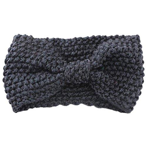 Sanwood Damen Häkelarbeit Schleife Design Stirnband Winter Kopfband Haarband (Dunkelgrau)