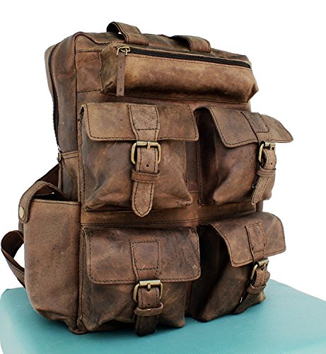 TUZECH Hot Selling 4 Pocket Buffalo Leather Large Vintage Rustic Look Messenger Bagpack - Fits Laptop Upto 15.6 Inches