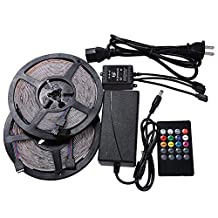 NEWSTYLE Two Rolls Waterproof Flexible LED Strip Light, LED Tape, 3528 SMD, 600 LEDs, 10M/32.8Ft, RGB Multi-colors, Pack of Two Reels 16.4-Feet 300 LED Light Strips & 20 Keys Music Sound Sense IR Remote Controller & 12V 5A Power adapter