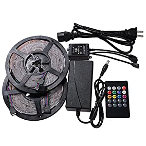 XKTTSUEERCRR (Two Rolls, 10M/32.8Ft) 3528 SMD 300LED, Waterproof Flexible RGB Color LED Light Strip For Outdoor/Indoor/Festivals/Party Decoration + 20Key Music Remote Controller + 12V 5A Power Supply