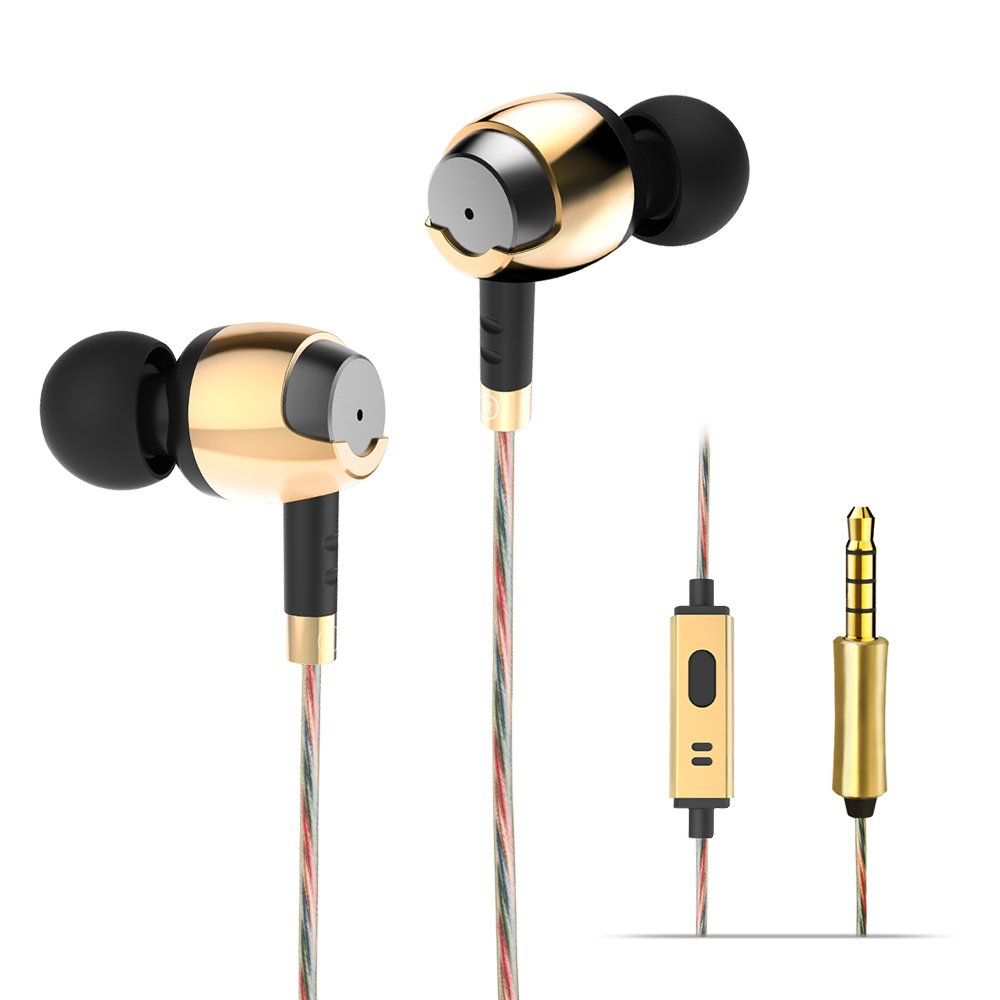 Wieppo In Ear Headphones Wired Earphones, Metal Stereo Earbuds,10mm Dynamic Driver Headsets with 150cm Cable, Microphone, Enhanced Bass, Noise Isolating,3.5mm for Smartphones (Golden)