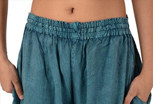 Skirts & Scarves bordado rayón Palazzo Pantalón de mujer/pijama Light Teal Blue