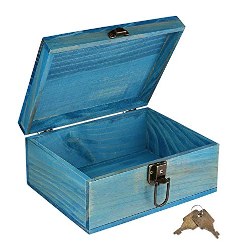 (Wooden Keepsake Box, Dedoot Decorative Wooden Box Vintage Handmade Wood Craft Box with Lock and Key for Jewelry Gift Storage Box and Home Decor, Blue, 9.3x7.6x4.5 Inch)