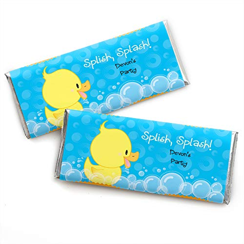 Custom Ducky Duck - Personalized Baby Shower or Birthday Party Favors Candy Bar Wrappers - Set of 24