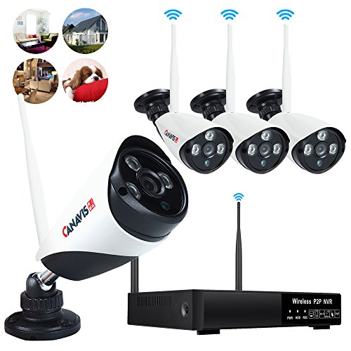 Wireless Security Camera System 4 channel 720P WiFi IP CCTV Cameras 960P NVR Home Network Outdoor indoor Video Surveillance System Night Vision Remote View NO Hard Drive by CANAVIS
