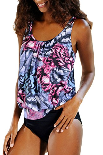 Pink-Queen-Womens-Plus-Size-Swimwear-Lined-Up-Double-Up-Tankini-Sets-Swimsuit