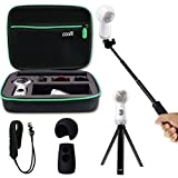 Shockproof Protective Carrying Case, Selfie Stick Monopod, Mini Tripod Stand, Soft Silicone Skin for Samsung Gear 360 2017, EEEKit All in One Accessory Kit