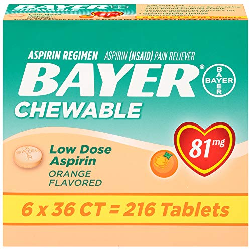 Baby Aspirin (Bayer Low Dose Baby Aspirin For Adult Use chewable orange 6 boxes of 36 = 216 tablets)