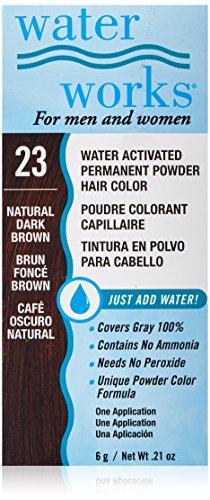 Waterworks Permanent Powder Hair Color #23 Natural Dark Brown Permanent Hair Dye Powder