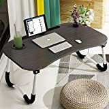Laptop Bed Table, Astory Portable Lap Desk Notebook Stand Reading Holder Breakfast Tray with Foldable Legs & Cup Slot for Eating Breakfast, Reading Book, Watching Movie on Bed/Couch/Sofa (Black)