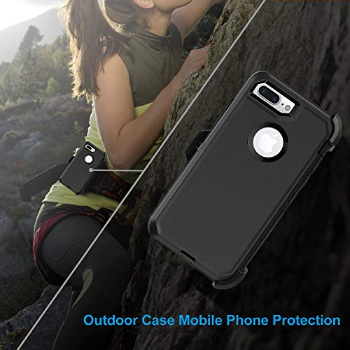 the best attitude 4afa2 3f0e4 MBLAI iPhone 7 Plus Case, Glass Screen Protection Heavy Duty Defense Case 4  Layers Rugged Rubber Shockproof Drop Proof with Belt-Clip Case Cover for ...