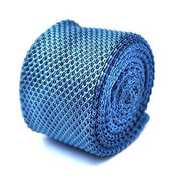 Frederick Thomas plain azul claro de punto corbata: Amazon.es ...