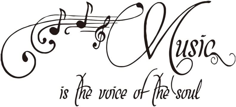 Woodland Arts Black 33 inches x 15 inches Music is The Voice of The Soul Clef Notes Staff Vinyl Hand-Made Wall Decals Quotes Sayings Words Arts Lettering Vinyl Wall Stickers for Music Room