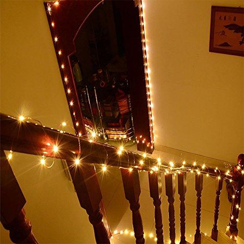 KEFU led drahtlichterkette batterie,10m 100led warmweiß lichterkette außen/innen mit deko weihnachtsbaum,balkon,zimmer,fenster,garten