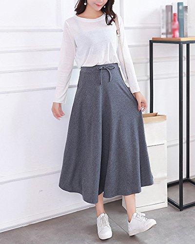Femmes Line Basique Haute Fonc Jupe Elastique en Gris Midi Taille Pliss vase A Jupe Maxi Casual Fluide rq64rnaY