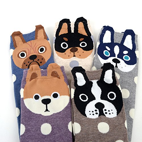 5 Pairs Womens Dog Cotton Sock Cute Cartoon Animals Crew Liner Novelty Socks,US women\'s shoes size 5-12,Multicolored-2