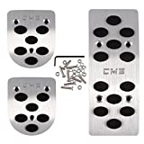 Commart Manual Car Silver Pedals Pads Cover Auto Gas Brake Metal Pedal Non-Slip Pedals Cover