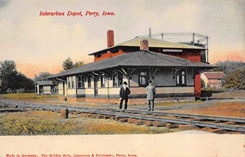 Postcard Interurban Railroad Depot in Perry, Iowa~113524