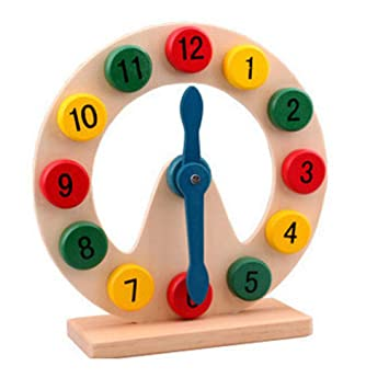 TrifyCore Juguete Reloj Digital de Dibujos Animados de Madera Reloj de Juguete Educativo para el Desarrollo de la Inteligencia Reloj de Bebé Colorizado 1 ...