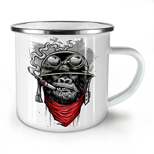Rest in Pieces Zombie Enamel Mug Two Side Print Easy-Grip Handle Peace Cup Ideal for Camping & Outdoors by Wellcoda Strong