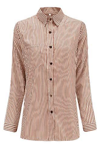 Les De Bouton Dessus Chemises Rayures Manches Chemise Longues Un Brown wprw71q