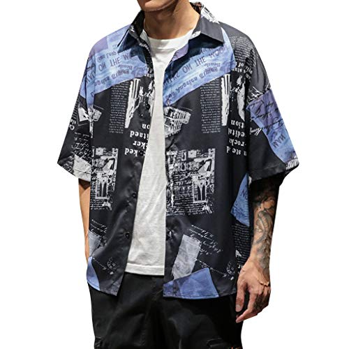 Mens Stylish Retro Printed Short Sleeve Button Shirt Hip Hop Tops Black
