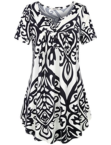 SeSe Code Tunic Shirts for Women Ladies Plus Size Summer Tops and Blouses Paisley Patterned Flower Feminine Clothing Flowing V Neck Shirt White XX Large