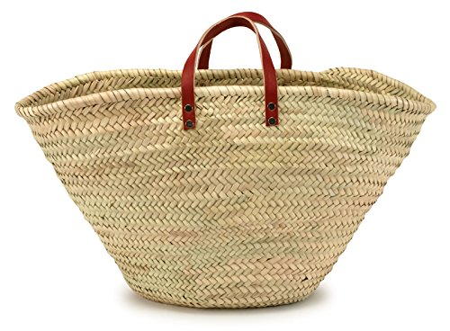 - Moroccan Straw Market Bag w/Red Leather Strip Handles - 25