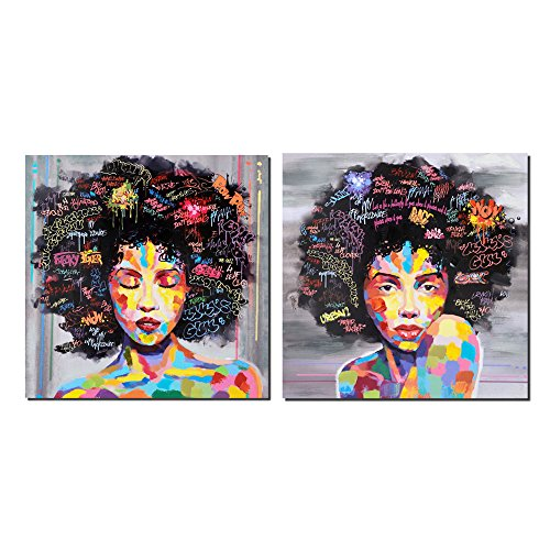 Crescent Art Black Art African American Wall Art Large Afro Painting For Living Room, Original Design Painting on Canvas Print (SET Unframed, 24 x 24 inch)