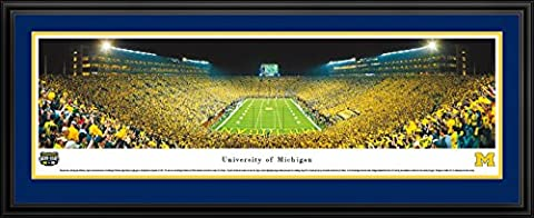 Michigan Football - Under The Lights - End Zone - Blakeway Panoramas College Sports Posters with Deluxe (The Dazzle Picture Frames)