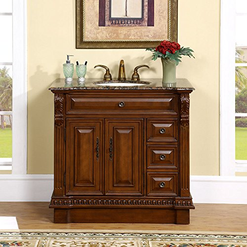 Silkroad Exclusive Countertop Granite Stone Single Sink Bathroom Vanity with Cabinet, 38-Inch
