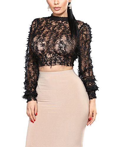 Women Long Sleeve Sheer See Through Mesh Lace Crop Top Floral Crochet Mock Neck Tunic Blouse Shirt Black, X-Large (Crochet Top Tunic)